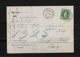 NACHNAHME / REMBOURSEMENT → G.Fischer Fehraltorf Nach Teufenthal   ►SBK-67D 1899◄ - 1882-1906 Armoiries, Helvetia Debout & UPU