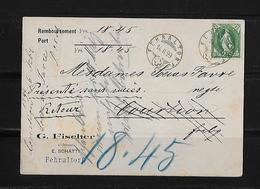 NACHNAHME / REMBOURSEMENT → G.Fischer Fehraltorf Nach Misery Freiburg   ►SBK-67D 1899◄ - 1882-1906 Armoiries, Helvetia Debout & UPU