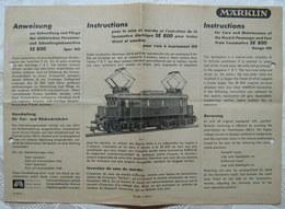 MÄRKLIN H0 Anweisung SE 800 1950 - Loks