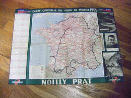 TOUR DE FRANCE 1955 CARTE OFFICIELLE LE PARISIEN L'EQUIPE PUB NOILLY PRAT CARTE TARIDE T.B.E. - Cyclisme