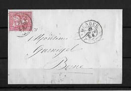 SITZENDE HELVETIA Gezähnt  → Brief Morges Nach Bern 1867    ►SBK-38◄ - 1862-1881 Helvetia Assise (dentelés)