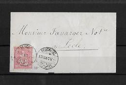 SITZENDE HELVETIA Gezähnt  → Brief Neuchatel Nach Locle 1867    ►SBK-38◄ - 1862-1881 Sitted Helvetia (perforates)