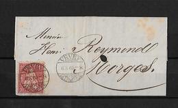 SITZENDE HELVETIA Gezähnt  → Brief Vevey Nach Morges 1869   ►SBK-38◄ - 1862-1881 Sitzende Helvetia (gezähnt)