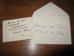 CARTE DE VISITE AUTOGRAPHE SIGNEE DE MARCEL ACHARD 1930 DRAMATURGE SCENARISTE REALISATEUR ACADEMIE HUMOUR - Autographes
