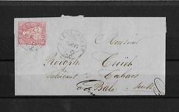SITZENDE HELVETIA Gezähnt  → Brief Chêne Bourg Nach Basel 1872   ►SBK-38◄ - 1862-1881 Sitzende Helvetia (gezähnt)