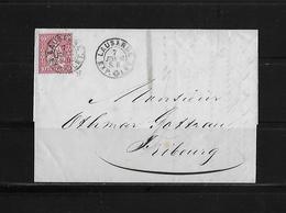 SITZENDE HELVETIA Gezähnt  → Brief Lausanne Nach Fribourg 1867   ►SBK-38◄ - 1862-1881 Helvetia Assise (dentelés)