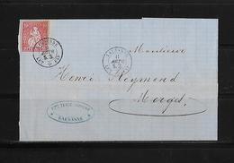 SITZENDE HELVETIA Gezähnt  → Brief Lausanne Nach Morges 1869     ►SBK-38◄ - 1862-1881 Helvetia Assise (dentelés)