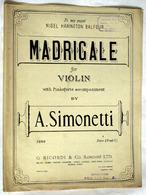 """{13295} Partition """" A Simonetti , Madrigale """"   """" En Baisse """" - Non Classés"""