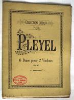 """{13296} Partition """" Pleyel , 6 Duos Pour 2 Violons """"   """" En Baisse """" - Non Classés"""