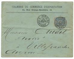 ENVELOPPE 15 C SAGE / PARIS 90 R FONTAINE 1896 / POUR VILLEFRANCHE - Marcofilia (sobres)