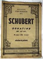 """{13298} Partition """" Schubert , Sonatine """"   """" En Baisse """" - Non Classés"""