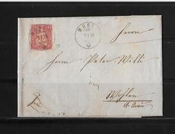 SITZENDE HELVETIA Gezähnt  → Brief Mosen Nach Wohlen 1876    ►SBK-38◄ - 1862-1881 Sitzende Helvetia (gezähnt)