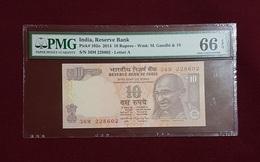 Inde :10 Roupies (2014 Pk 102o) PMG 66 EPQ - GEM - NC - Inde