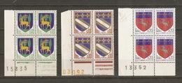 France 1962/6 - Armoiries - 3 Blocs Numérotés De 4 MNH -1351B/1353/1510 - Timbres
