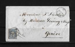 SITZENDE HELVETIA Gezähnt  → Brief Uzwyl Nach Genève 1863    ►SBK-31◄ - 1862-1881 Helvetia Assise (dentelés)