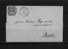 SITZENDE HELVETIA Gezähnt  → Brief Schaffhausen Nach Basel 1863    ►SBK-31◄ - 1862-1881 Helvetia Assise (dentelés)