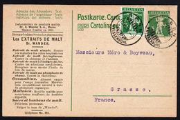 RARE Entier Postal Repiqué Pub. Extraits De Malt Du Dr. Wander, Ovomaltine, Maltosan........... - Entiers Postaux