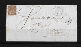 SITZENDE HELVETIA Gezähnt  → Brief Baden Nach Mellingen 1872    ►SBK-30◄ - 1862-1881 Sitzende Helvetia (gezähnt)