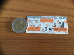 """Ticket De Transport (métro, Bus, Train, Tramway) RATP Optile PARIS(75) """"MOBILIS Zones 1 2"""" - Métro"""