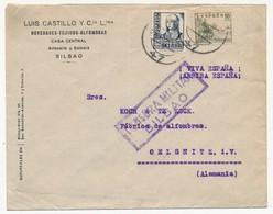"""ESPAGNE => Enveloppe Affr. Composé, Censure """"Censura Militar Bilbao"""" - 1931-Aujourd'hui: II. République - ....Juan Carlos I"""