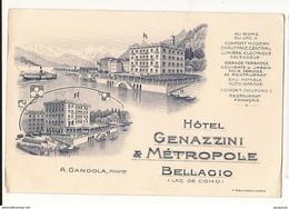 Italie Publicité Hôtel Genazzini & Métropole Bellgio Lac De Como - Autres