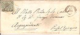 (St.Post.).A.Stati.Pontificio.2baj Verde Giallastro Su Lettera C.d.t..Annullo A Griglia E 2C Di Civitavecchia (9-17) - Papal States