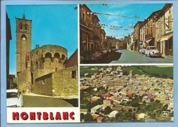 Montblanc (34) église Fortifiée 13e S. Place Du Jeu De Paume Vue Générale Aérienne 2 Scans Citroën 2 CV AMI6 DS - Autres Communes