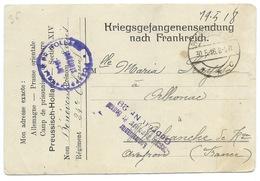 CARTE / KRIEGSGEFANGENENSENDUNG NACH FRANKREICH 1918 / POUR VILLEFRANCHE - Germania