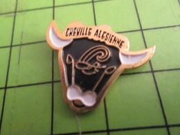 313c Pin's Pins / Rare Et De Belle Qualité !!! THEME ANIMAUX : TETE DE VACHE BOEUF TAUREAU CHEVILLE ALESIENNE - Animaux