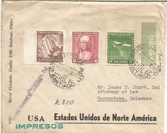 CHILE CC A USA SELLOS ISABEL CATOLICA MARCA RECIEVED UNSEALED Y CIERRE GEORGETOWN OFFICIALLY SEALED - Chile