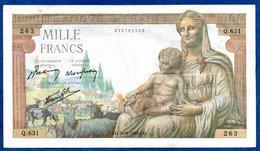 1000 Francs Déméter   /  20 - 6 - 42 /  TTB - 1871-1952 Frühe Francs Des 20. Jh.