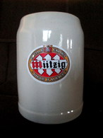 CHOPE Bière MUTZIG Grab Mug Beer Krug Bier Céramique Grès Stoneware Sandstein 0,5L Alsace Elsass ! - Cerveza