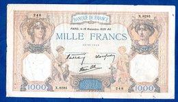 1000 Francs Cérès Et Mercure   /  16 - 11 - 39 /  TB+ - 1871-1952 Antichi Franchi Circolanti Nel XX Secolo