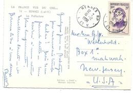 (P79) - Y&T N° 1086 SEUL - CARTE RENNES  => USA 1956 TARIF CARTE + 5 MOTS DU 01/05/1951 2FF EN TROP - Cartas