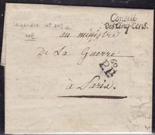 France, Paris - Conseil Des Cinq-cens En Noir Sur LAC De L'an 7 - Legendre N° 102a - Marcophilie (Lettres)