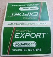 "Carnet De Papier à Cigarettes ""  AQUAFUGE  "" Export - Empty Cigarettes Boxes"