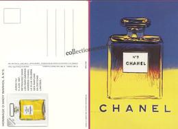 CHANEL : CHANEL N°5  CP : Hommage D'Andy Wharol à N° 5- 1997 Avec Patch Au Verso 10,3cmx14,8cm, Parfait état - Parfums & Beauté