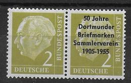 Bundespost 2Pf Heuss With Overprint 50 Jahre Dortmunder Briefmarken Sammlerverein 1905-1955 - [7] République Fédérale