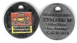 Jeton De Caddie  Ville, CARROSSIER  REPARATEUR  Verso  Carrosserie  LEMARE. M. 9, Rue Edmé  BOUCHARDON à CHAUMONT ( 52 ) - Jetons De Caddies