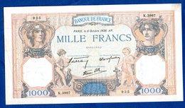 1000 Francs Cérès Et Mercure   / 6 - 10 - 38 - 1 000 F 1927-1940 ''Cérès E Mercure''