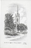 SKETCH OF ST. MICHAELS CHURCH, BISHOPS STORTFORD, HERTFORDSHIRE, ENGLAND. UNUSED POSTCARD Pv4 - Hertfordshire