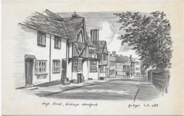 SKETCH OF HIGH STREET, BISHOPS STORTFORD, HERTFORDSHIRE, ENGLAND. USED POSTCARD H4 - Hertfordshire