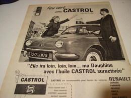 ANCIENNE PUBLICITE FEU VERT AVEC CASTROL 1961 - Transports