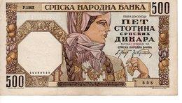 500 Dinara  ( 01/11/1941 ) - Serbie