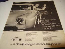ANCIENNE PUBLICITE MANIABLE VOITURE DAUPHINE  RENAULT 1961 - Voitures
