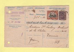 Belgique - Carte Recepisse - Recu Cheques Postaux - Timbre De Quittance Au Dos - 1921 - Obourg - Covers & Documents