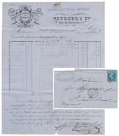 1866 - LETTRE FACTURE ENTETE GRAVURE CHOCOLAT PAYRAUD (LYON) AFFRANCHIE NAPOLEON 22 GC 2145 ST JEAN DE BRUEL CHOCOLATIER - Postmark Collection (Covers)
