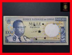 CONGO DEMOCRATIC REPUBLIC D R 1.000 1000 Francs 1.8.1964 P. 8 A Perforate 5 Star UNC  Light Spots - Congo