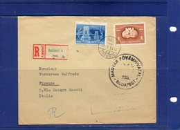 ##(DAN1811)-1950-  Registered Cover From Budapest To Firenze - Italy  - Censored - Ungheria