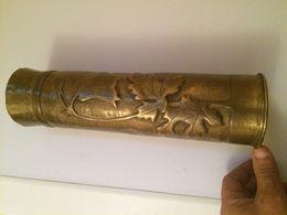 DOUILLE D'OBUS EN BRONZE-75 DEC-INSCRIPTION BELGIQUE 1917 - Bronzes